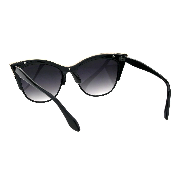 c944455c98 Amazon.com  SA106¨ Womens High Point Squared Half Rim Look Cat Eye  Sunglasses (Black