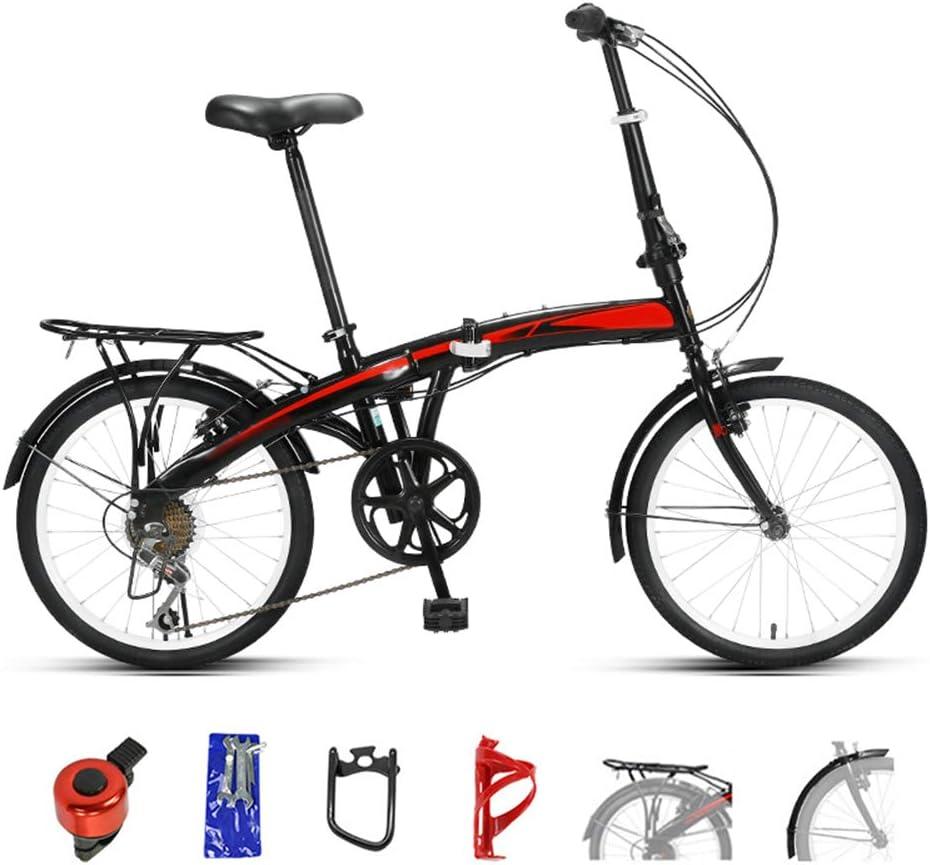 YRYBZ Bicicleta de Montaña Plegable, MTB Bici para Hombre y Mujerc, 20 Pulgadas Bicicleta Adulto, 6 Velocidades Doble Freno Disco, Montar al Aire Libre/Negro: Amazon.es: Deportes y aire libre