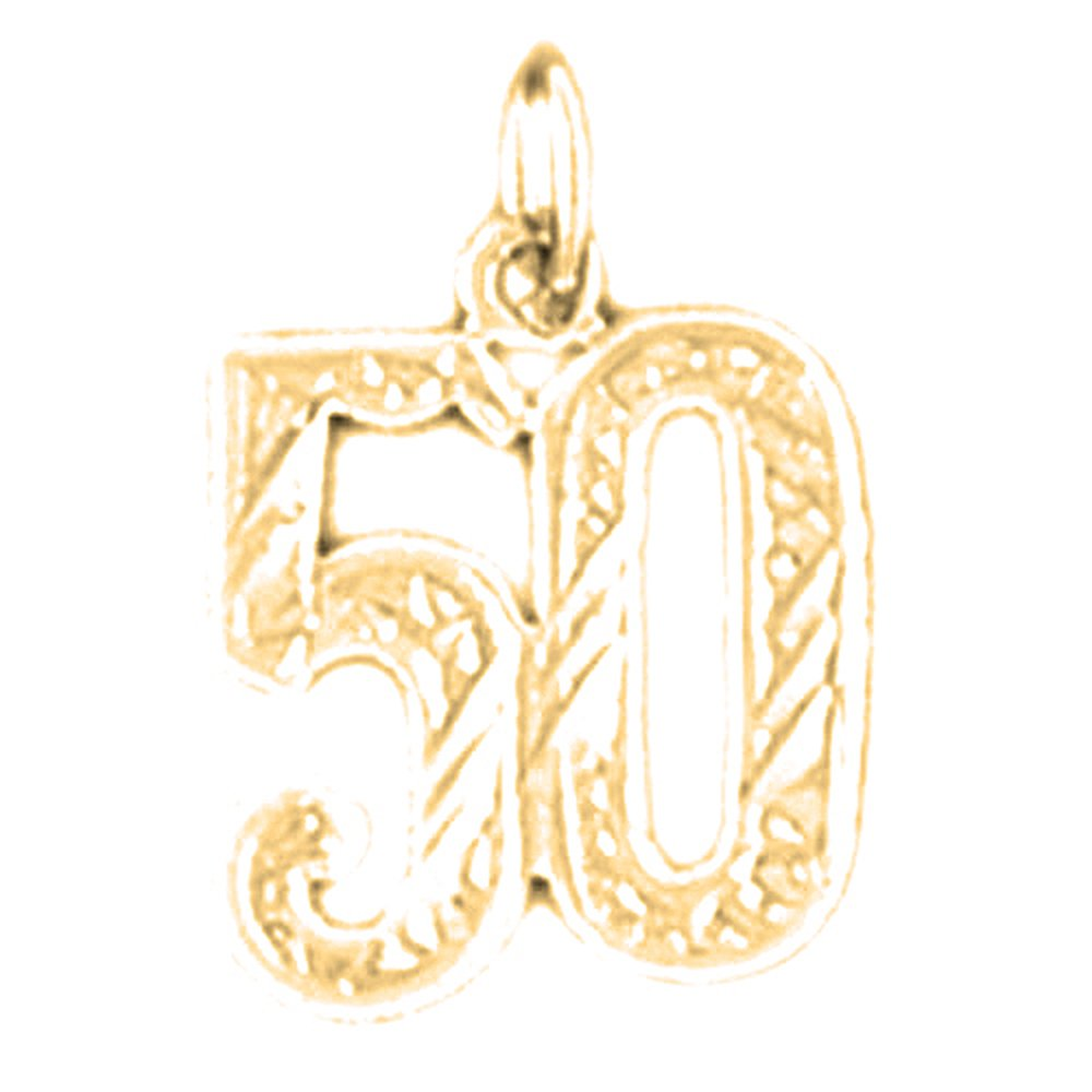 14K Yellow Gold Number Fifty 17 mm 50 Pendant Jewels Obsession Number Fifty 50 Charm Pendant