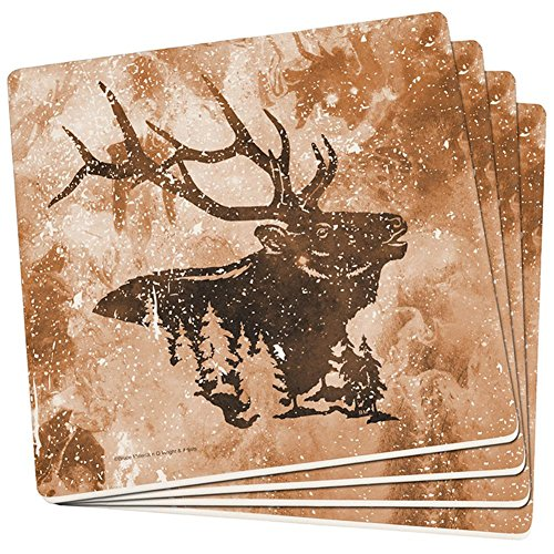 (Distressed Brown Elk Silhouette Set of 4 Square Sandstone Coasters Multi Standard One Size)