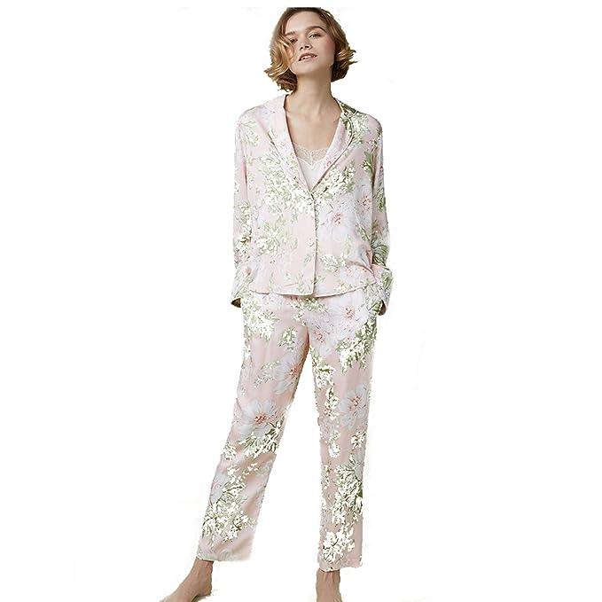 Pijama conjunto floral impresión la mujer,Ropa de dormir botón abajo loungewear con pantalones largos