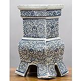 Home decor. Blue And White Rectangle Vase. Dimension: 6 x 5 x 12. Pattern: Blue & White Classic.