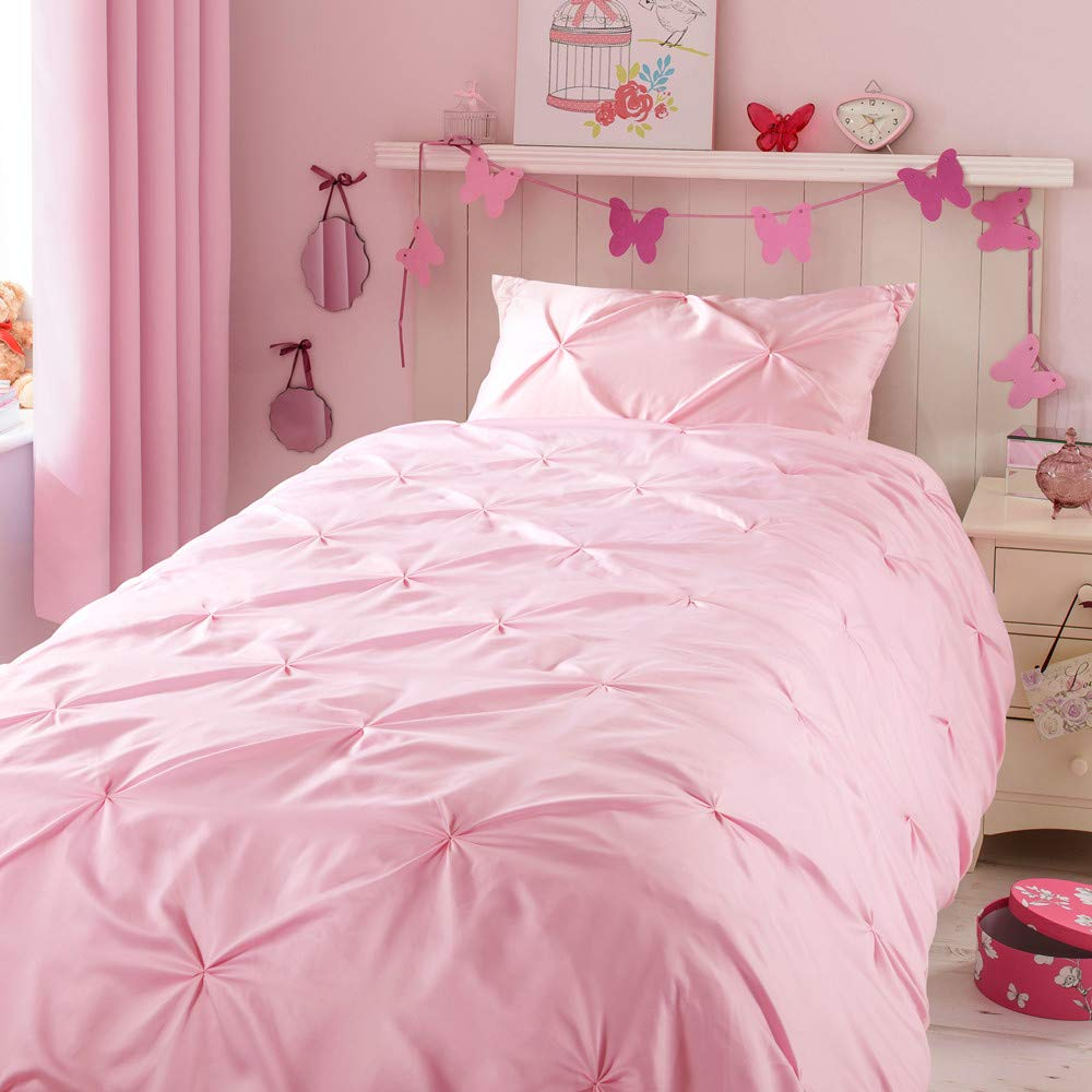 """Horimote Home Kids Duvet Cover Twin, Baby Pink Duvet Cover Set for Baby Teen Girls Bedroom, Cute Ruched Pinch Pleated Pintuck Style Duvet Cover, 69""""x90"""", No Comforter"""
