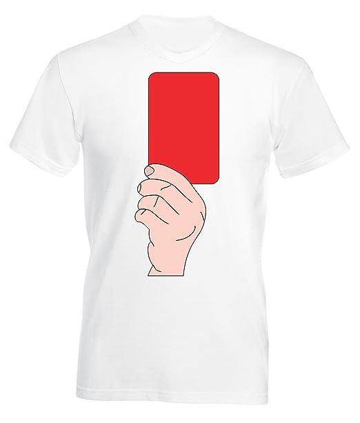 Fútbol Tarjeta Roja V-Cuello Camiseta Para Hombre Blanco ...