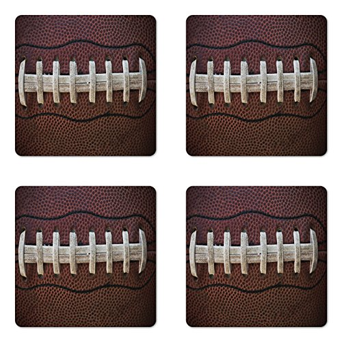 Lunarable Sports Coaster Set of 4, American Football Leather Laces Fun Traditional Sport Close up Photo Print, Square Hardboard Gloss Coasters, Standard Size, Brown -