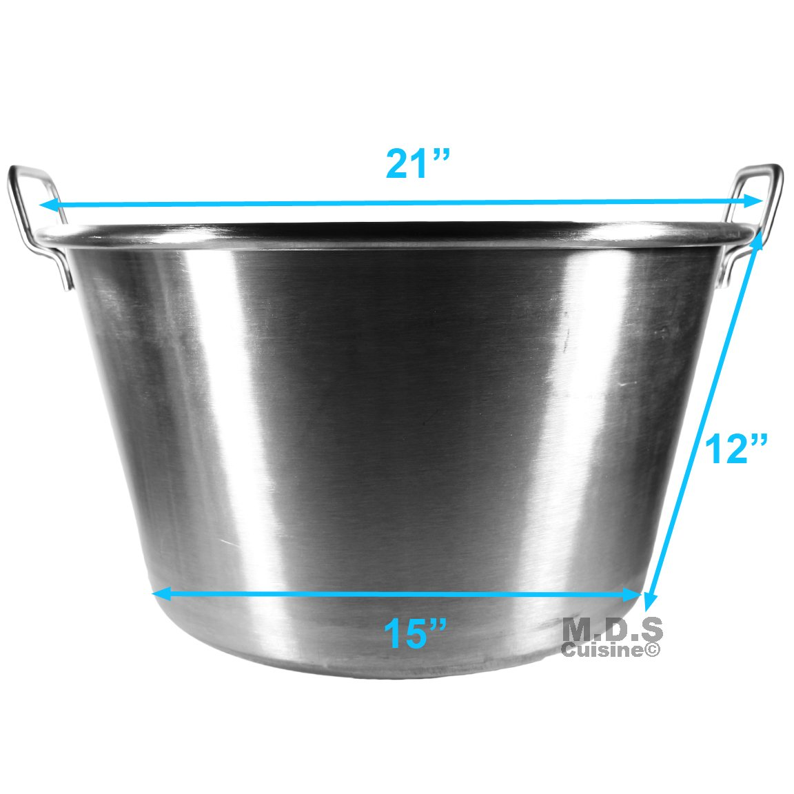 Large Cazo Stainless Steel 21'' Caso para Carnitas Gas Heavy Duty Wok Acero Inoxidable by M.D.S Cuisine Cookwares (Image #3)