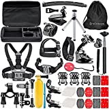 Greleaves 50 in 1 Outdoor Sports Accessories Bundle Kit for Gopro Hero 4 Session,Hero 4 Black,Hero 4 Silver,Hero 4 3+ 3 2 1 Camera Accessory Kit for SJCAM SJ4000 SJ5000 SJ6000