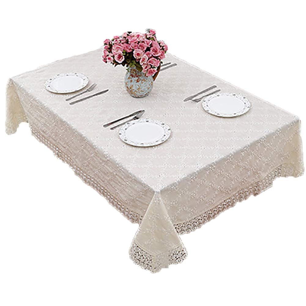 Lace Table Cloths Linen for Outdoor Weddings for Rectangle Tables Beige 50''x70''