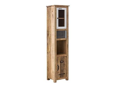 Woodkings® Hochschrank Pune Badmöbel Holz rustiakl massiv ...