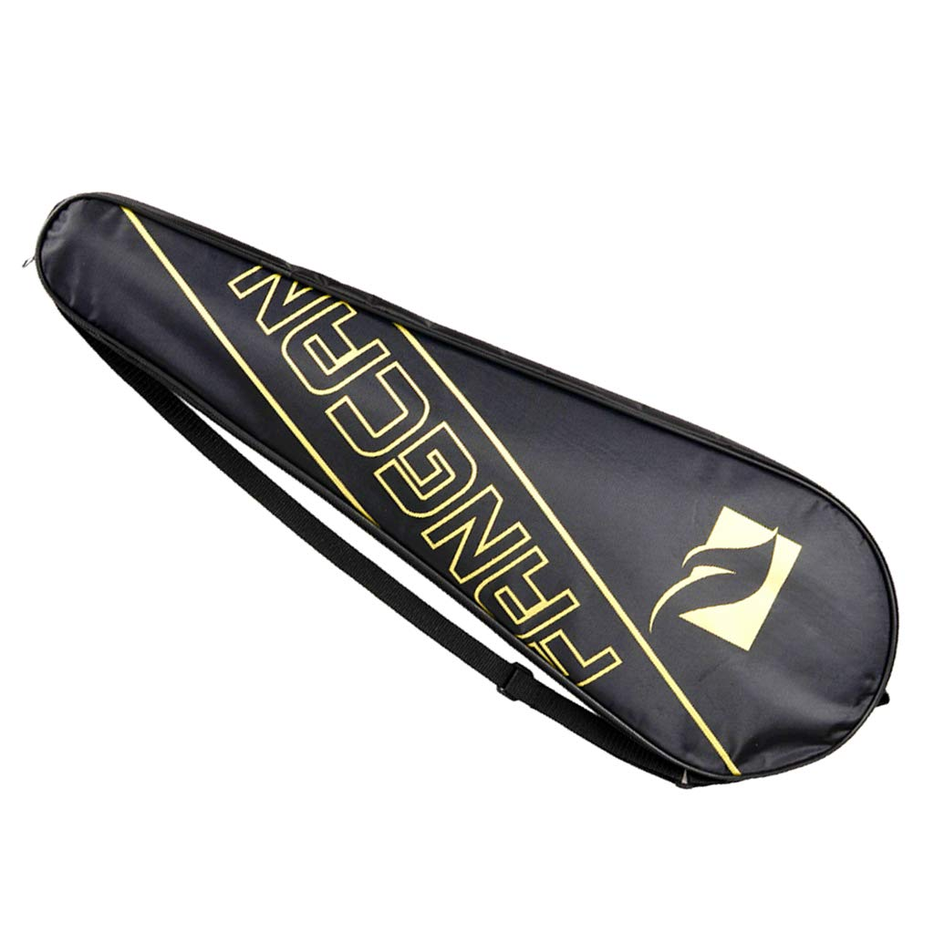 F Fityle Durable Badminton Racket Cover Bag Case with Heavy Duty Zipper Racquet Holder Adjustable Shoulder Strap