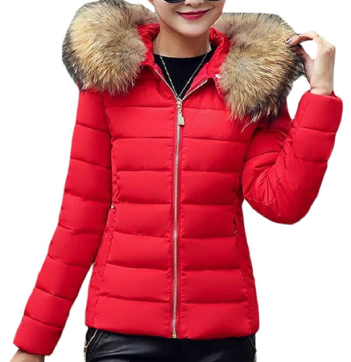 2 Xswsy XGCA Womens Down Peacoat Zipper Faux Fur Hood Casual Puffer Jackets