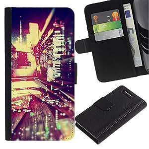 For Sony Xperia Z1 Compact / Z1 Mini / D5503,S-type® Reflection Night Lights City Modern - Dibujo PU billetera de cuero Funda Case Caso de la piel de la bolsa protectora