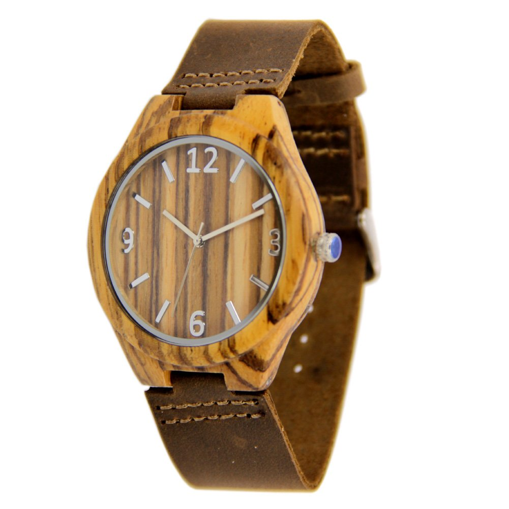 Mens Zebra Wood Watch with Genuine Leather Strap Gift Watch to Him