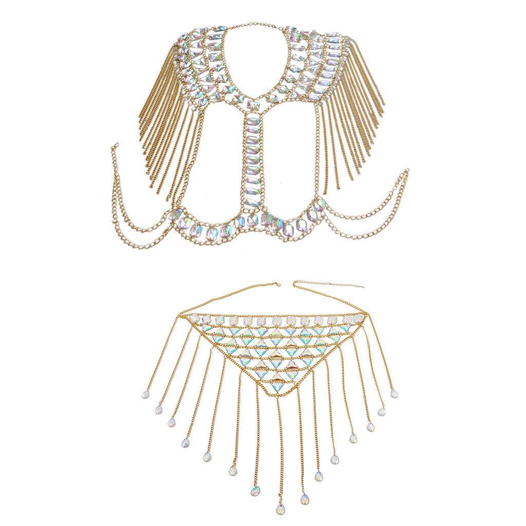 YiXin Sexy Woman Bra Body Chain Necklace Tassel Gem Waist Chain for Nightclub Party Beach Jewelry (Gold)
