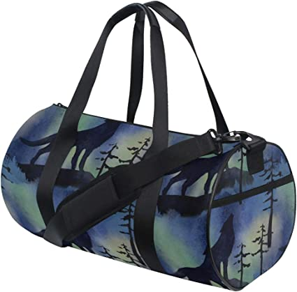 Waterproof Travel Duffel Bag Womens Weekend Bag Wolf Black Mens Luggage Bag For Gym Sports Overnight Trip