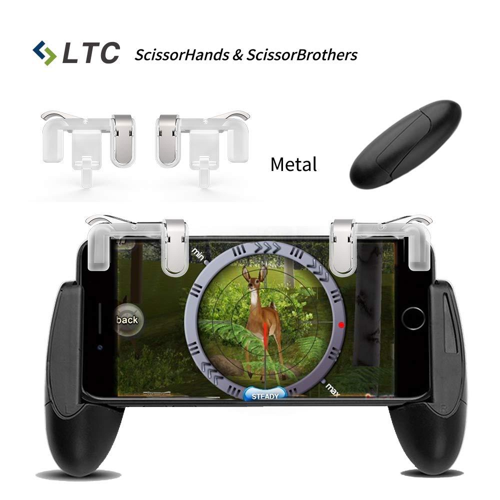 """LTC Scissor's Serie Mobile Game Controller Set, includere LTC """"ScissorHands"""" Metal Game Trigger M2 e LTC """"ScissorBrothers"""" Titolare del gioco H1, Compatibile con smartphone da 4,5'a 6,4'-Trasparente 5a 6 4-Trasparente M2+H1"""