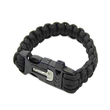 Black /& Army Green Liroyal Pack of Two Survival Bracelet Paracord Whistle Gear Flint Fire Starter Scraper Kits Outdoor