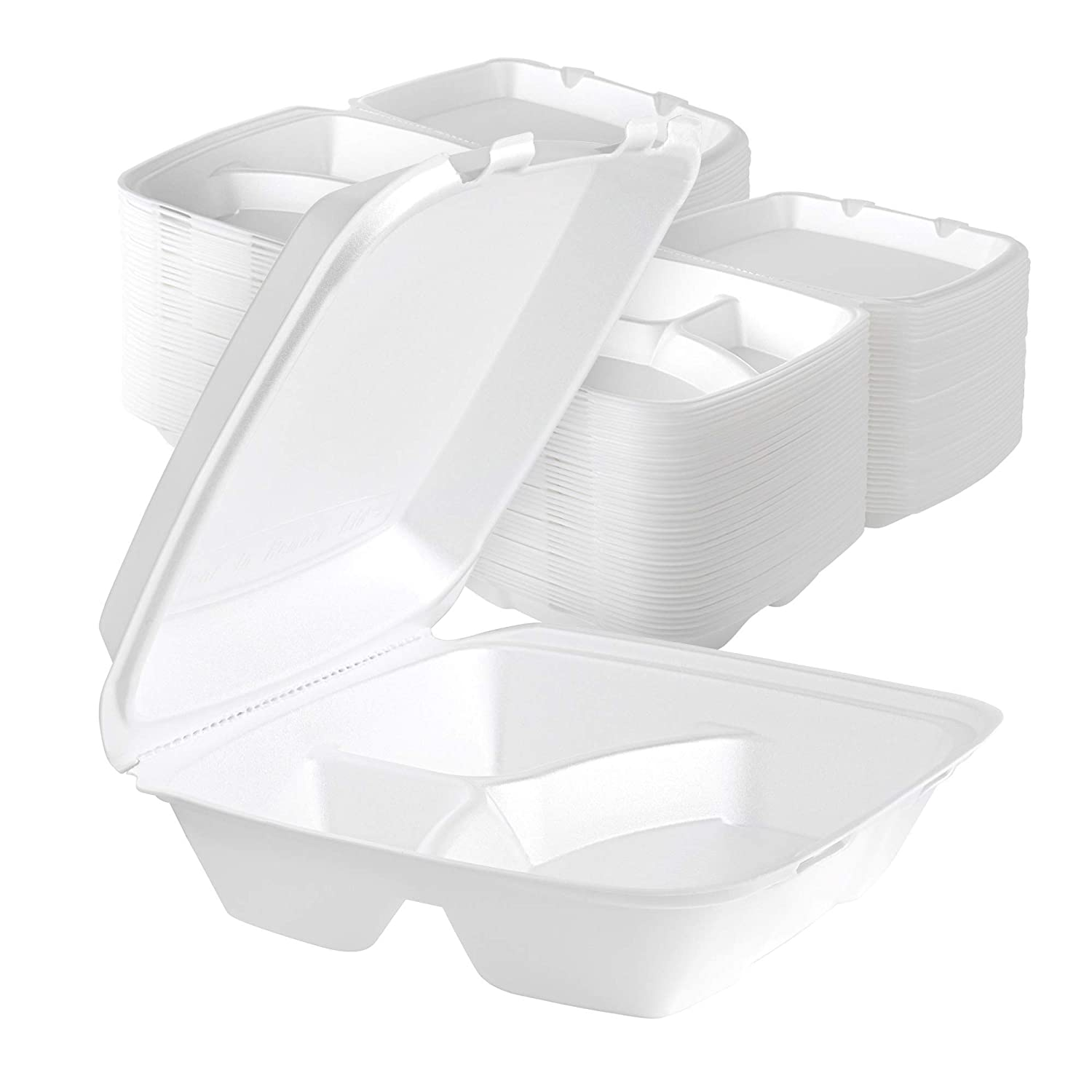 Stock Your Home 9 Inch Clamshell Styrofoam Containers (25 Count) - 3 Compartment Food Containers - Large Carry Out Container for Food - Clamshell Take Out Containers for Delivery, Takeout, Restaurants
