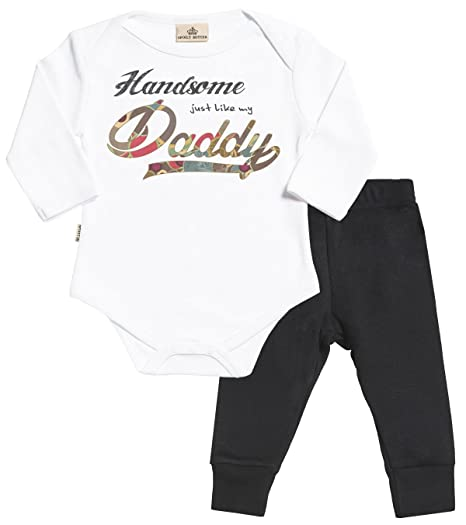 7bae59ad5 SR - Handsome Just Like My Daddy Baby Set - White Babygrow & Black Baby  Jersey