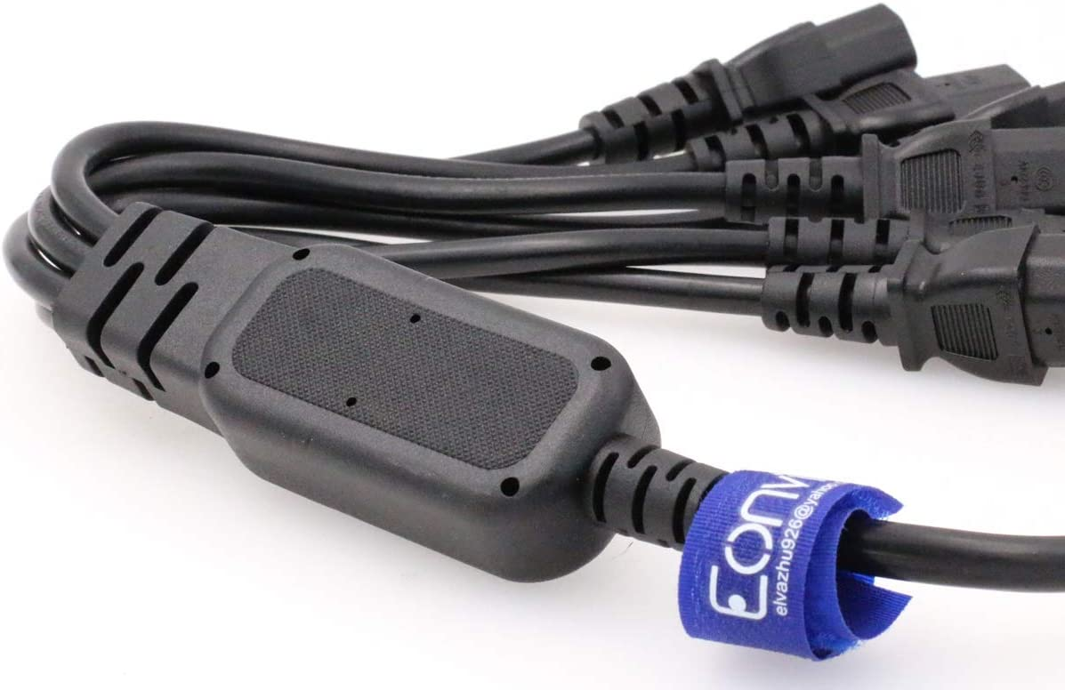 10A Eonvic IEC C14 to 6 x C13 Y Splitter Cord 250V IEC Male to 6 Female Cable