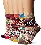 Handmade Knitted Women Wool Warm Socks Coloful Witnter Crew Novelty Socks Girls 5 Pairs