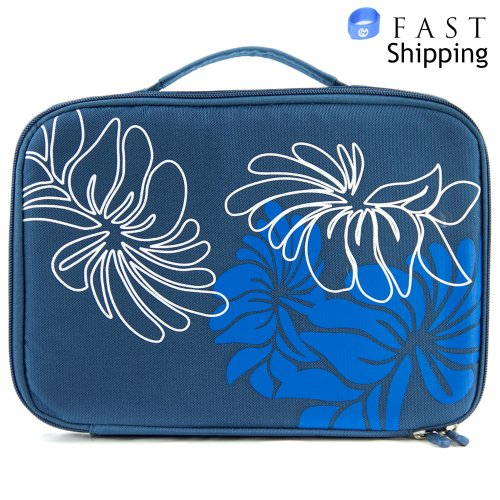 Teal Floral DVD Travel Player Case fits Insignia 8.5-Inch RF-NS-P8DVD Widescreen Portable DVD Player