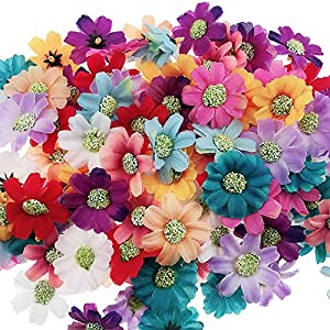 Codall Artificial Flower Heads - 100-Pack Fake Daisy Flowers Wedding Decorations, Baby Showers, DIY Crafts, Mixed Colors 66