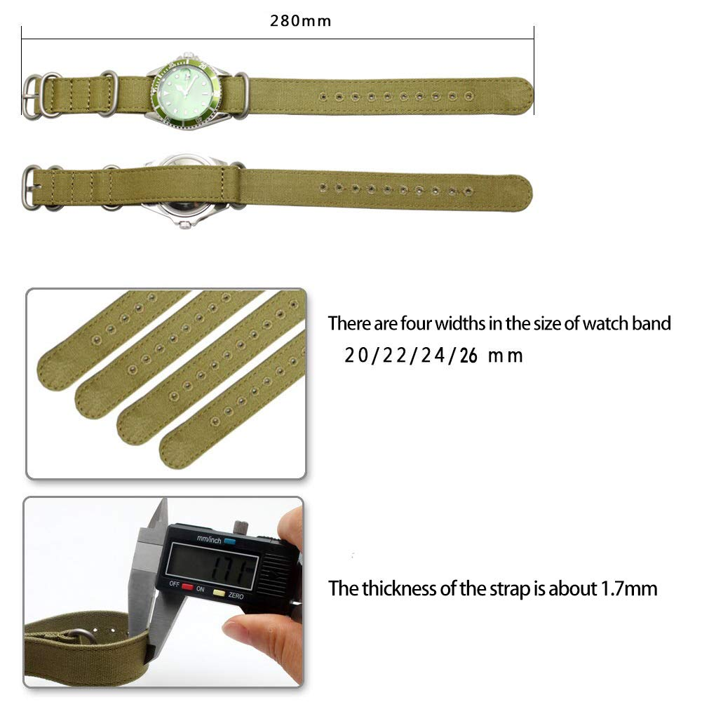 24mm Rugged Khaki Stitched Canvas Watch Strap for Men and Women NATO Straps Cotton Canvas Watch Bands by CHICLETTIES (Image #4)