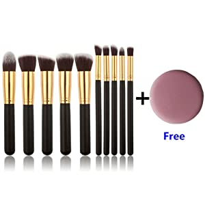 U-beauty 10 Pieces Professional Foundation Blending Blush Eye Face Liquid Powder Cream Cosmetics Brushes & 1 Piece Free Makeup Sponge Blender