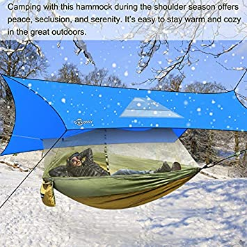 Trekassy Camping Hammock with Removeable Mosquito Bug Net, Rain Fly Cover, Tree Straps and Carabiners