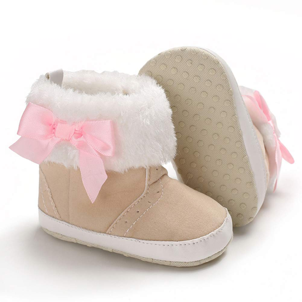 Pink 12cm Alamana Bowknot Plush Edge Baby Girls Soft Sole Winter Prewalker Toddler Shoes Boots