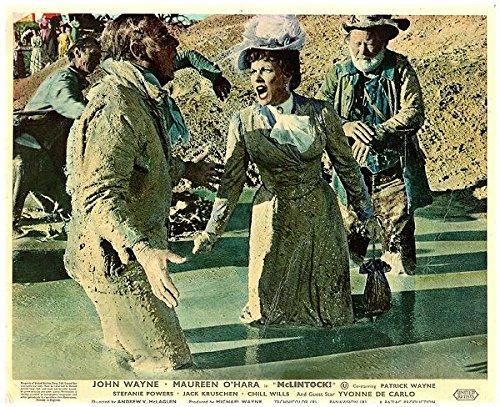 Lobby Card (MCLINTOCK ORIGINAL BRITISH LOBBY CARD JOHN WAYNE MAUREEN O'HARA MUD FIGHT)