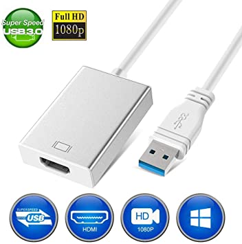 Adaptador USB a HDMI, Adaptador USB 3.0 a HDMI, Adaptador de vídeo HD Full 1080P para Ordenador portátil a televisor HD, múltiples monitores, Salida de Audio Compatible con Windows 7/8/8.1/10 PC: Amazon.es: