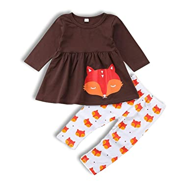 186dae4f5 Amazon.com  Wiswell Baby Girl Fox Pant Set Infant Girls Ruffle Long ...