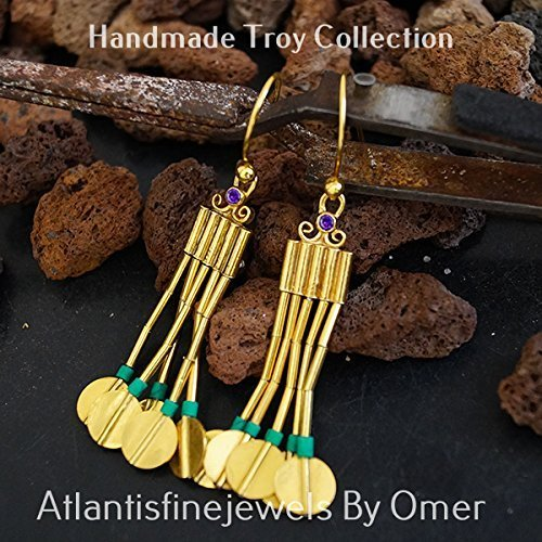 5 STRAND ANCIENT TROY EARRINGS W/ AMETHYST & MALACHITE STERLING SILVER HANDCRAFTED TURKISH JEWELRY