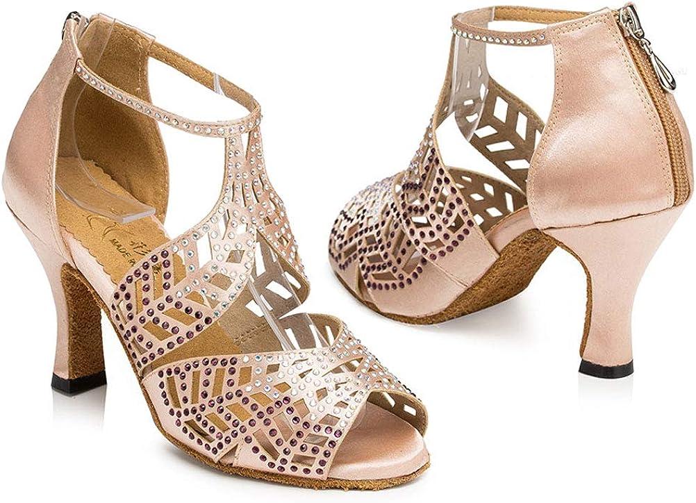 2.4IN Womens Rhinestone T-Bar Latin Dance Shoes Character Salsa Tango ChaCha Prom0015 Skin US Size5.5