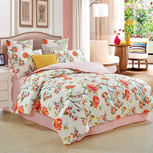 Softta Shabby Floral Farmhouse Classic Colorful Luxury Orange Azaleas and Birds Bedding Sets California King Size 3Pcs(1 Duvet Cover+ 2 Pillowcases) 100% Egyptian Long-Staple Cotton Duvet Cover Set