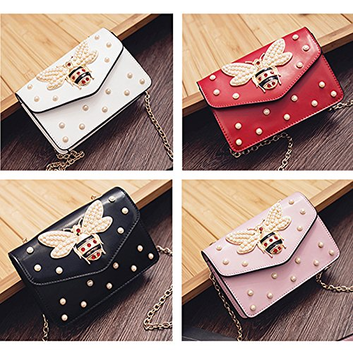 Review Beatfull Designer Pu Handbags for Women, Fashion Bee Leather Shoulder Bags Cross Body Bag with Pearl (Black)