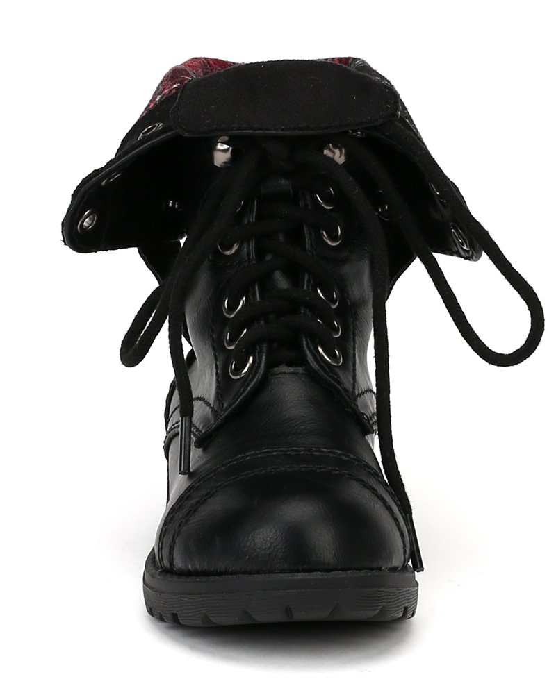 Happy Soda Oralee-2S Leatherette Lace Flannel Fold Cuff Military Boot (Toddler/Little Girl/Big Girl) AF00 - Black (Size: Toddler 10) by Happy Soda (Image #4)