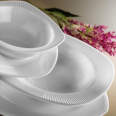 Luxury Kutahya Porcelain Square Essservice Dinner Plates 24 Piece