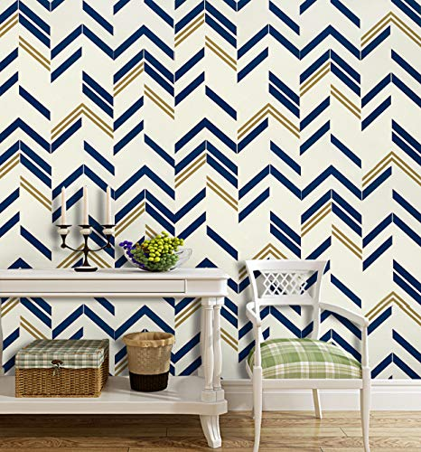 "197""x17.7"" Blue Chevron Stripe Blue Peel and Stick Wallpaper Blue Self Adhesive Wallpaper Removable Wallpaper Modern Design Wall Covering Shelf Liner Drawer Liner Vinyl Film Roll"