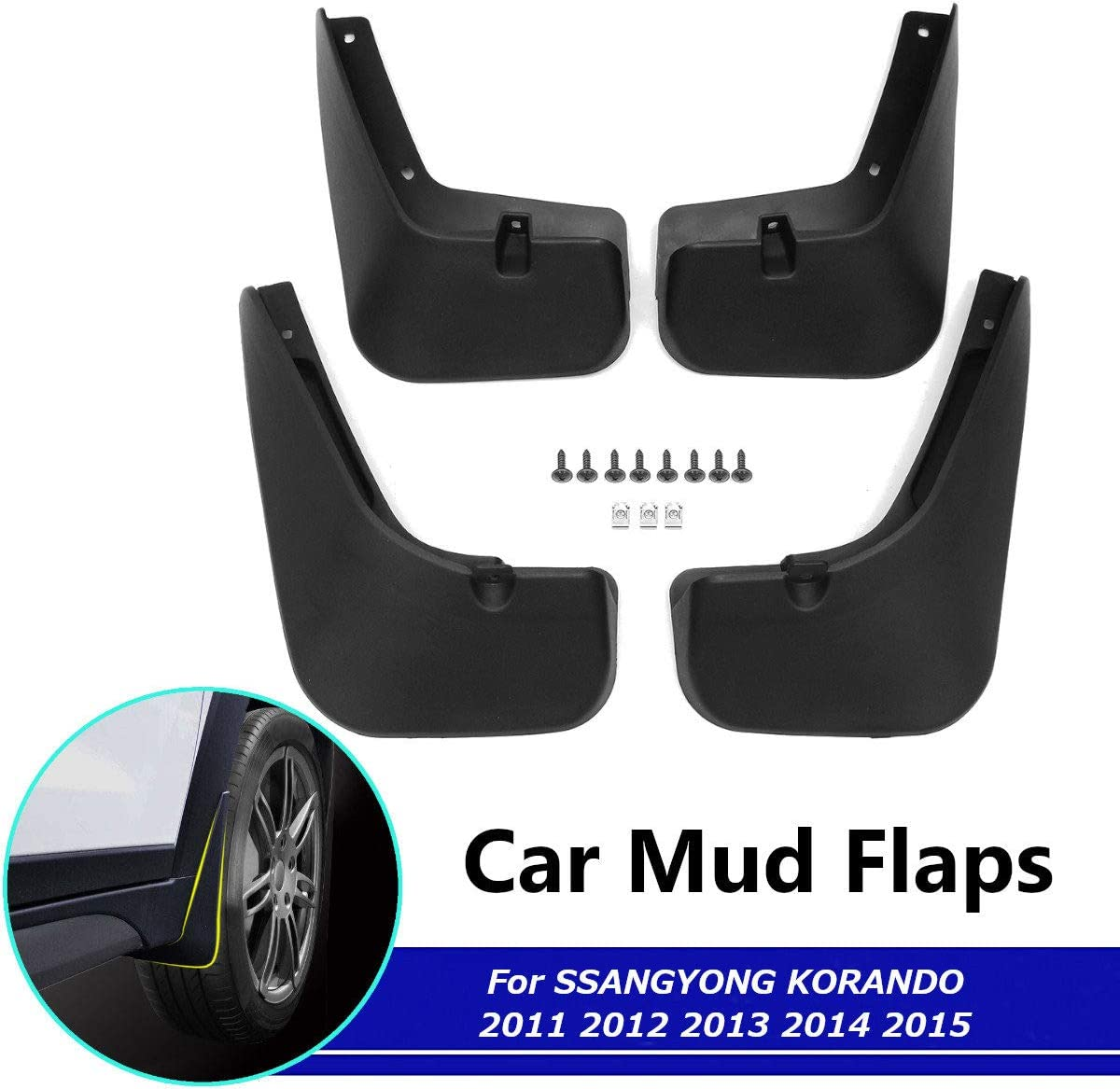 Front Rear Rubber Mudguard Flares Splash Guards Fender Mudflaps Auto Accessories BTSDLXX 4 Pcs Set Car Mud Flaps for SsangYong Korando Actyon C200 2011-2015