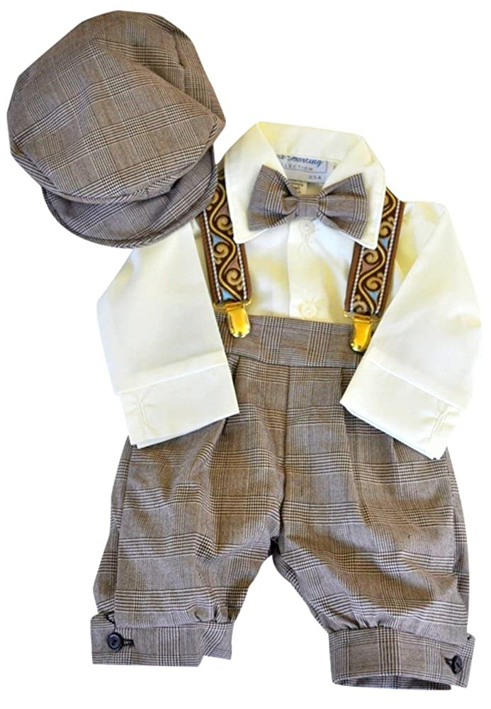 Just Darling Infant /& Toddler Boys Vintage Style Knickers Outfit Suspenders Bowtie /& Cap