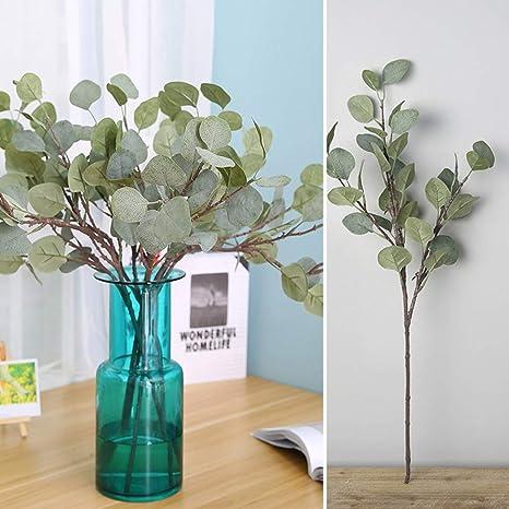 1 Branch Fake Silk Leaf Eucalyptus DIY Hotel Home Green Plant Artificial Decor