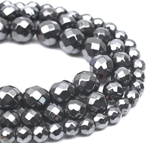 10mm 1 x Strand 40 Smooth Round HEMATITE Gemstone Beads BLACK