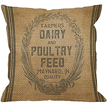 HGOD DESIGNS Throw Pillow Case Vintage Burlap Feed Sack Cotton Linen Square Cushion Cover Standard Pillowcase for Men Women Home Decorative Sofa Armchair Bedroom Livingroom 18 x 18 inch