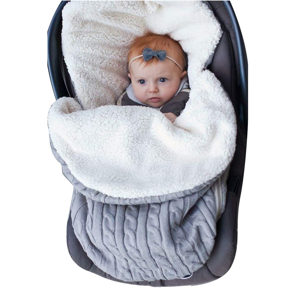Newborn Baby Swaddle Blanket Wrap, Thick Baby Kids Toddler Knit Soft Warm Fleece Blanket Swaddle Sleeping Bag Sack Sleep Bag Stroller Unisex Wrap for 0-12 Month Baby Boys Girls (Grey) by oenbopo