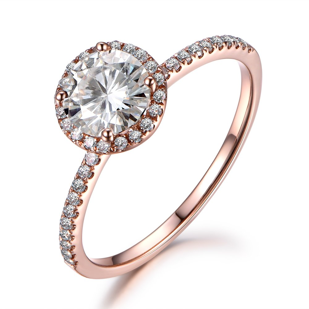 f04786f85622f4 Moissanite Engagement Ring, 7mm Round Cut Stone, 1.25ctw, Solid 14K Rose  Gold, Diamond Wedding Band   Amazon.com