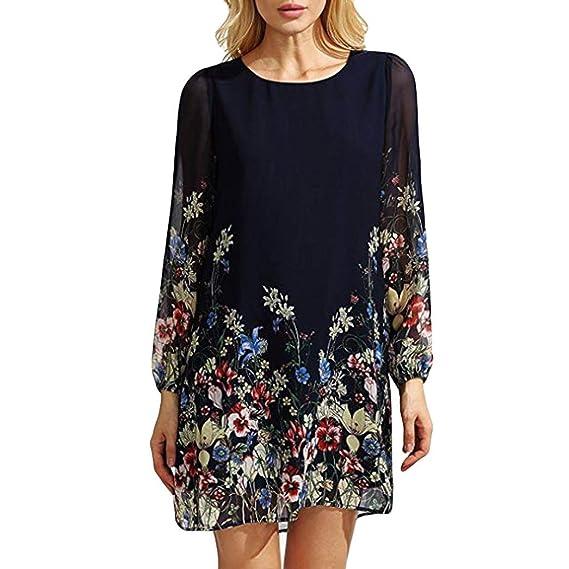Mini Vestido de Gasa de Mujer,Estampado Floral de Tres Cuartos o Cuello