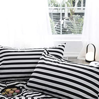 "karever Stripe Pillowcases Black White Pillow Shams Vertical Ticking Striped 100% Cotton Envelope Pillow Cover 20""x26"": Home & Kitchen"